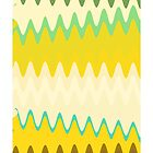 Retro Zigzag Colorful Chevron Striped Pattern by Nhan Ngo