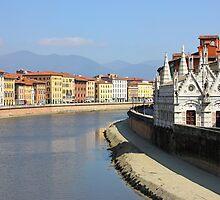 Pisa Riverside View with the church Santa Maria della Spina by kirilart