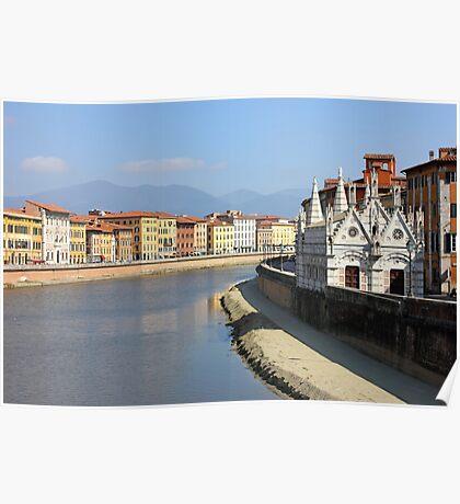 Pisa Riverside View with the church Santa Maria della Spina Poster