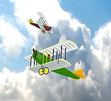 Biplanes in Aerial Games iPhone case design by Dennis Melling