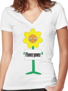 bad ass flower  Women's Fitted V-Neck T-Shirt