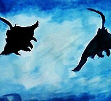 Giant Manta Rays, watercolor by Anna  Lewis