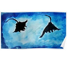 Giant Manta Rays, watercolor Poster