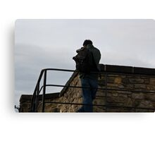 Tourist taking photos inside Edinburgh Castle Canvas Print