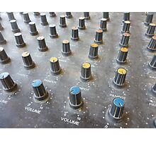 closeup on a sliders of a mixing console Photographic Print