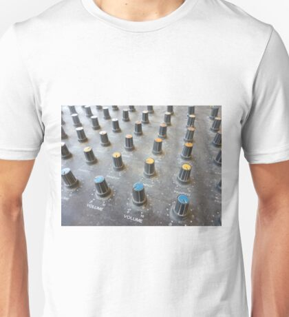 closeup on a sliders of a mixing console Unisex T-Shirt
