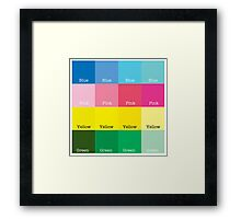 Blue, Pink, Yellow, Green  Framed Print