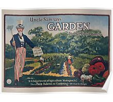 Uncle Sam says  garden to cut food costs Ask the US Department of Agriculture Washington DC for a free bulletin on gardening  its food for thought 002 Poster