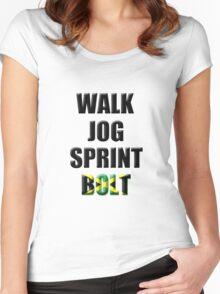 Walk, Jog, Sprint, BOLT! Women's Fitted Scoop T-Shirt