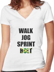 Walk, Jog, Sprint, BOLT! Women's Fitted V-Neck T-Shirt
