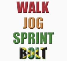 Walk, Jog, Sprint, BOLT!! Kids Tee