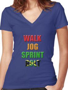 Walk, Jog, Sprint, BOLT!! Women's Fitted V-Neck T-Shirt