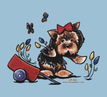 Yorkie in the Garden One Piece - Short Sleeve