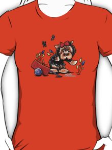 Yorkie in the Garden T-Shirt