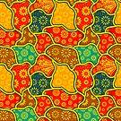 Warm Tones Retro Flowers Design by artonwear