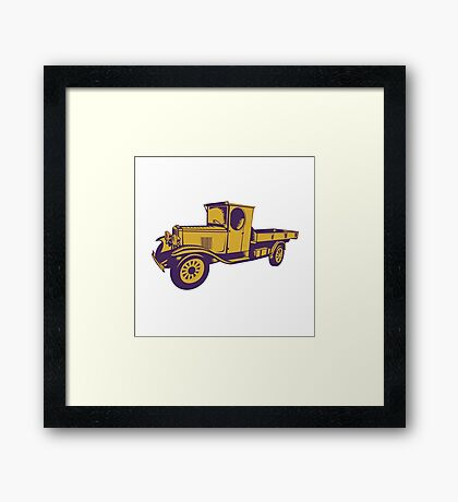 1920s Pick-up Truck Woodcut Framed Print