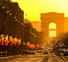 Champs Elysees sunset in Paris by KeithMcInnes