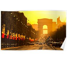 Champs Elysees sunset in Paris Poster