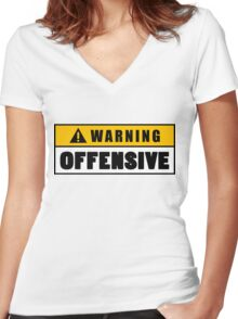 Warning Offensive Lockout Women's Fitted V-Neck T-Shirt