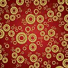 Red And Gold Geometric Circle Pattern by artonwear