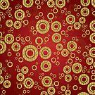 Red And Gold Geometric Circle Pattern by artonwear