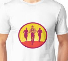 Marathon Runner Circle Woodcut Unisex T-Shirt
