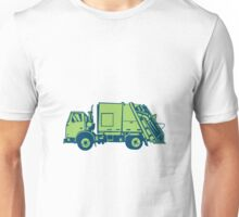 Garbage Truck Rear End Loader Side Woodcut Unisex T-Shirt