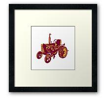 Vintage Farm Tractor Woodcut Framed Print