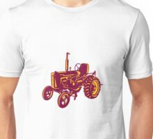 Vintage Farm Tractor Woodcut Unisex T-Shirt