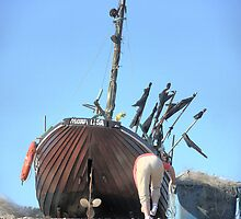 Hastings Fishing Boats ( 9 ) - The Stern of the Mona Lisa by Larry Lingard-Davis