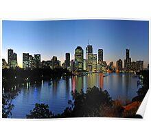 Brisbane City & River At Dusk. Queensland, Australia  Poster