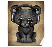 Cute Black Panther Cub Dj Wearing Headphones  Poster