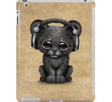 Cute Black Panther Cub Dj Wearing Headphones  iPad Case/Skin