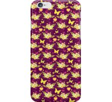 Floral butterflies and hearts spring greens & purple iPhone Case/Skin