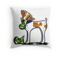 Brittany with Dad's Boots Throw Pillow