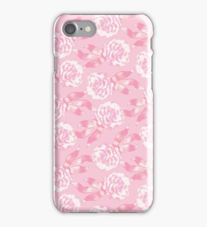 White dianthus carnations on pink iPhone Case/Skin