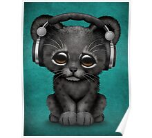 Cute Black Panther Cub Dj Wearing Headphones on Blue Poster