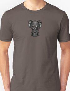 Cute Black Panther Cub Dj Wearing Headphones on Blue T-Shirt