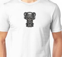 Cute Black Panther Cub Dj Wearing Headphones on Blue Unisex T-Shirt