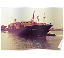 Container ship in the harbour Poster