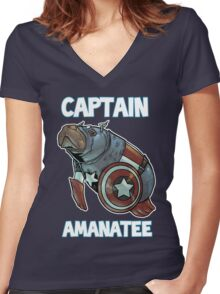 Captain Amanatee SALE! Women's Fitted V-Neck T-Shirt
