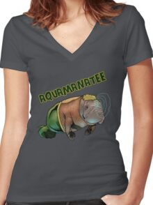 Aquamanatee Women's Fitted V-Neck T-Shirt