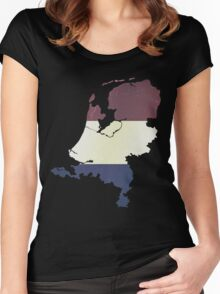 Vintage Netherlands Flag and Map Women's Fitted Scoop T-Shirt