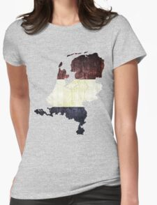 Vintage Netherlands Flag and Map Womens Fitted T-Shirt