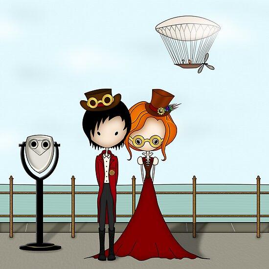 Steampunk Promenade Cartoon Illustration by ArtformDesigns