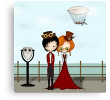 Steampunk Promenade Cartoon Illustration Canvas Print