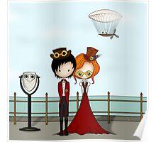 Steampunk Promenade Cartoon Illustration Poster