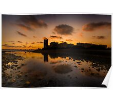 Sunset behind reflected buildings Poster