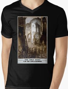 The only road for an Englishman Through darkness to light Through fighting to triumph Mens V-Neck T-Shirt