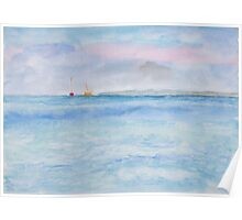 Distant Sailboats. Poster